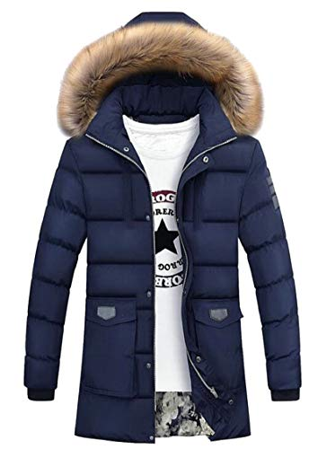 Warm Gocgt Coat Blue Long Men's Zipper Down Fur Hood Dart Quilted Winter Faux Jacket rUEFqUw