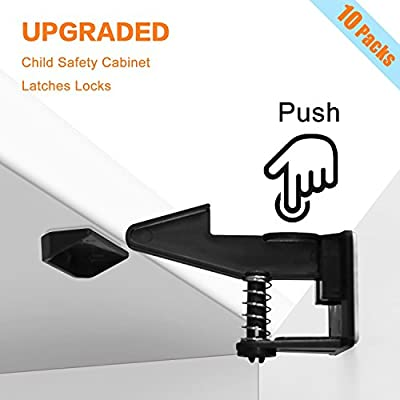 Child Safety Cabinet Locks, 10 Pack, Invisible Design, No Tools or Drilling Needed, Keep the Original Beauty of Furniture