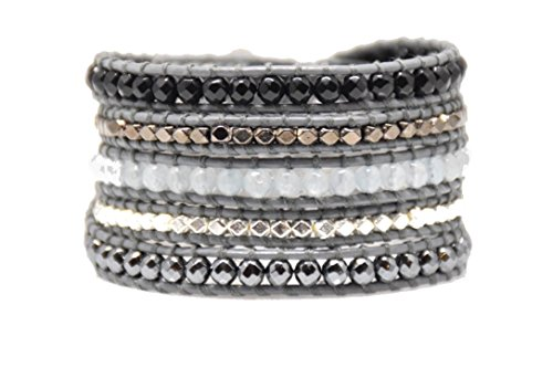 Black Grey Mix Metal Nuggets Wrap Bracelet Handmade Woven Leather 5 Multilayer 4 mm Beads Boho - Nugget Mm 4 Bracelet