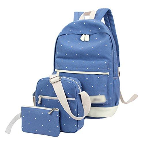 Sentao Conjunto de 3 Dot Las mochilas escolares universidad/bolsas escolares/mochila niños niñas adolescentes + bolso crossbody+Mini bolso Azul