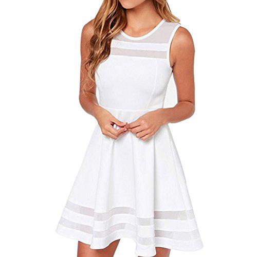 Price comparison product image Face N Face Women's Mesh Slim Sleeveless Short Mini Flare Dress Small White