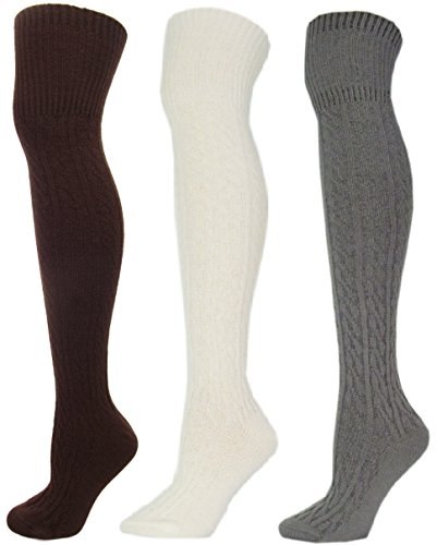Ladies 3-Pack Plain Cable Knitted Acrylic Wool Over the Knee Socks (Sock Size 9-11)(COFFEE, OFFWHITE, GREY)