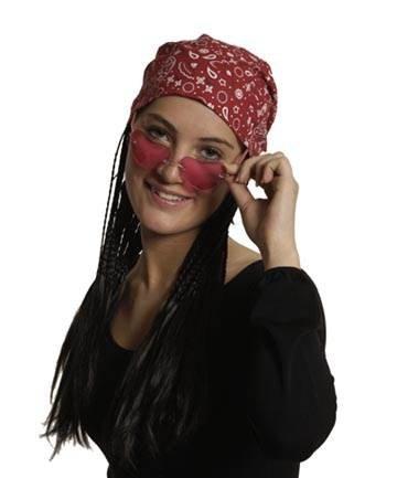 Party-Discount Kopftuch mit angesetzten schwarzen Haaren