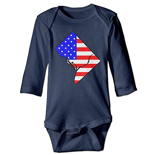 Infant Baby's Long Sleeve Romper Bodysuit American Flag