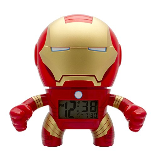BulbBotz Marvel Iron Man Kids Light up Alarm Clock   red/Gold   Plastic   7.5 inches Tall   LCD Display   boy Girl   Official