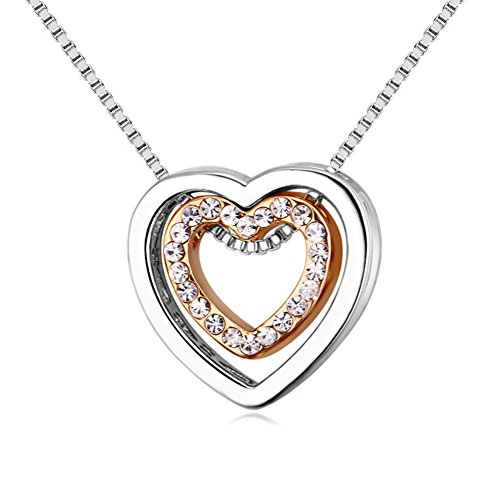 Showfay Love Heart Necklace - Crystal from Swarovski Rose Gold Plated Pendant Necklace for Women Mom Gift (White&Gold)