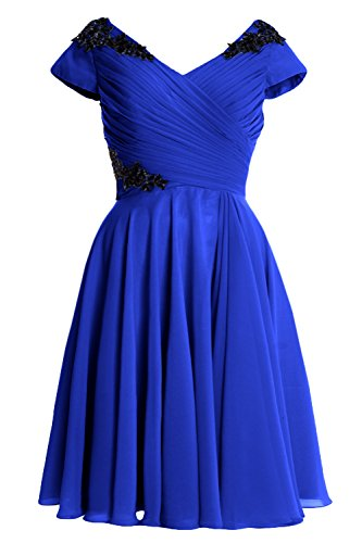 MACloth Elegant Cap Sleeve Short Mother of Bride Dress Cocktail Formal Gown Azul Real