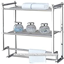 Hotel Towel Rack For Bathroom,Chrome Two Tier Wall Mounting, Storage Shelves, Interior Decorating