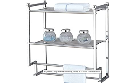 Hotel Towel Rack For Bathroom,Chrome Two Tier Wall Mounting, Storage  Shelves, Interior