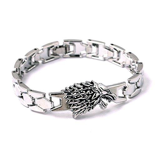 Dire Wolf Bracelet jonc Argenté–Game of Thrones Jon Snow inspiré bracelet en boîte cadeau