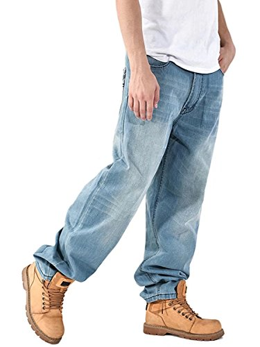 DanTile Men's Loose Fit Denim Jeans Baggy Jeans: The Best Fitting Jeans For Guys With Big Thighs.