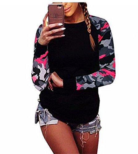 Women Blouse,Camouflage Fall Women Long Sleeve Shirt Casual Blouse Tops Sweatshirt T-Shirt (Small, Hot Pink) (Pink Camo Vest Women)