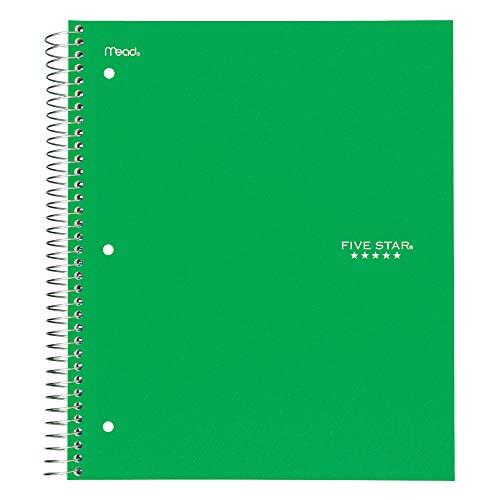 Five Star Spiral Notebook, 3 Subject, Wide Ruled Paper, 150 Sheets, 10-1/2