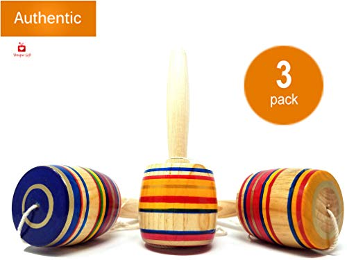 New | Alondra's Imports (TM) Elegantly Handcrafted, Classic Wooden Baleros, Made in Mexico (Valero, Baleros Mexicanos, Balero Toy from Mexico) Unique Assorted Colors - Set of 3