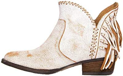 Corral Urban Womens Back Fringe Braided Top Distressed White Leather Shortie Cowboy Boots