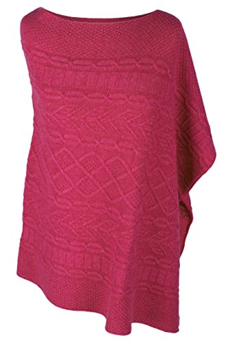Love Cashmere Women's 100% Cashmere Cable Poncho - Fuchsia Pink - Made In Scotland by Love Cashmere (Image #1)'