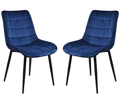 (Belita Amy Modern Dining Chair Set of 2, Metal Legs Velvet Cushion Seat and Back for Dining Living and Waiting Room Chairs (Velvet Blue))