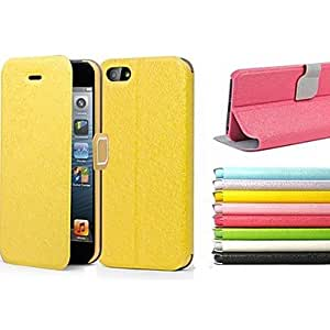 GHK - Feather Silk Series Artificial Leather and Plastic Protective Case with Support Function for iPhone 5/5S , Black