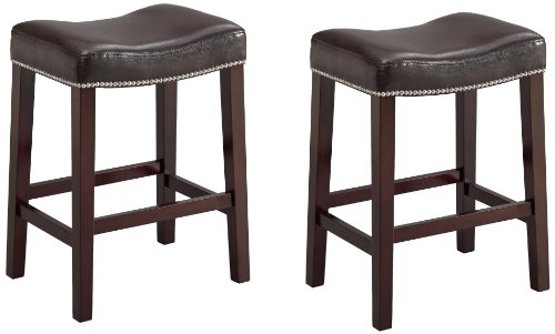 Crown Mark 2791 Nadia Saddle Chair, Espresso, 2 Per Box