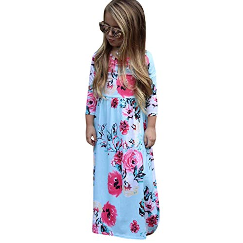 Toddler Baby Girl 3/4 Sleeve Floral Pleated Casual Princess Long Maxi Dress Sky Blue