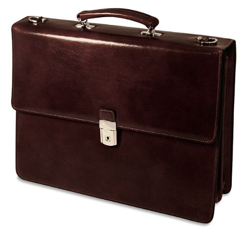 Briefcases Double Gusset - Jack Georges Sienna Double Gusset Flap Leather Briefcase 7422 - Cherry