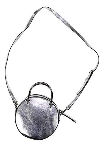 Nine West Orianna Round Metallic Crossbody Purse (Silver) ()