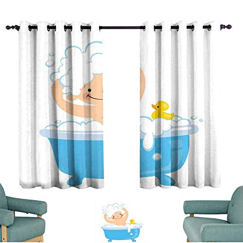 HCCJLCKS Room Darkening Wide Curtains Nursery Baby Boy with Smiley Face Having Bubble Bath with Rubber Duck Kids Theme Art Bedroom Balcony Living Room W63 xL63 White and Blue -