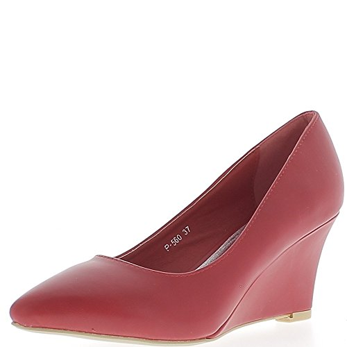 ChaussMoi Cuña Zapatos Rojo Dedo del Pie Womens Al Tacón de 7 cm