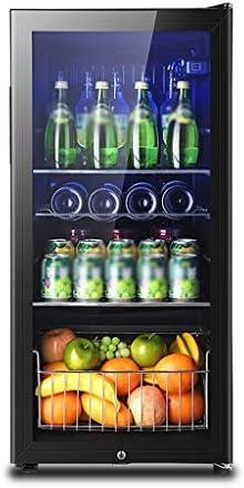WANGLX ガラスドアとロック、缶クーラービール、ワイン、ソーダで飲料冷蔵庫やクーラーLED青色光 - ビール冷蔵庫 - - 165LワインクーラーボックスRefrigeratonマンのためのルームアクセサリー