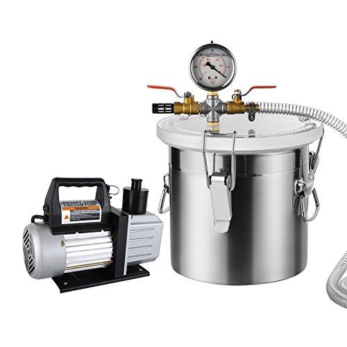 SUNCOO Vacuum Pump Kit,5 Gallon Vacuum Chamber with 5CFM Single Stage Vacuum Pump, Black