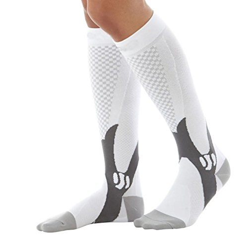 Graduated Compression Socks Anti-Fatigue For Women and Men Calf High - Best Medical, Nursing, Travel & Flight Socks - Running & Fitness - 15-20mmHg (3, White & Grey)