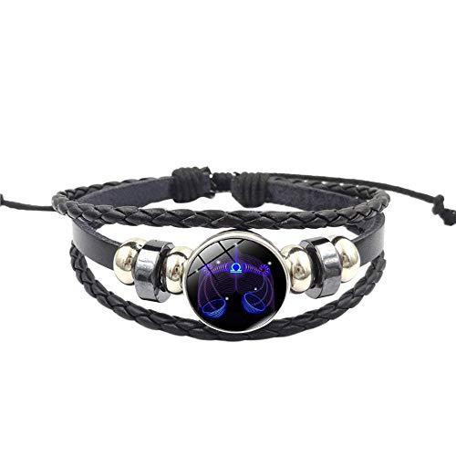 (Ugood Hot Selling Adjustable Fashion Women Constellation Zodiac Sign Pendant Multilayer Handmade Wristband Leather Bracelet Bangle (libra K))