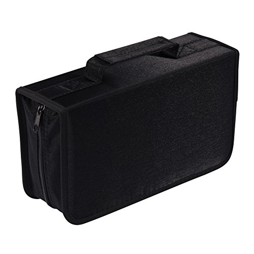 128 Capacity CD/DVD case Wallet, storage,holder,booklet by Rekukos(Black) Custom Folder Printing