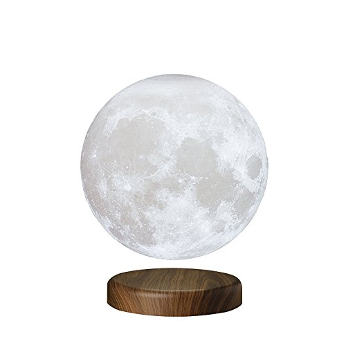 """7.1"""" LEVILUNA Magnetic Levitating Moon Lamp, Wireless Power Supply, Unibody Seamless 3D Printing, PLA Material, 6000K Cool White, Floating LED Light"""