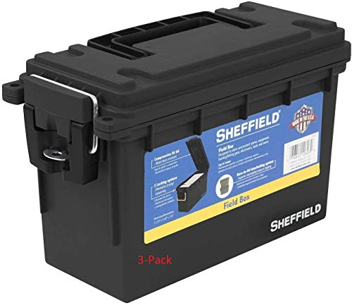 Sheffield 12629 Field Box | Great Pistol, Rifle, or Shotgun Ammo Storage Box (Black) | Safe and Tamper-Proof with 3 Locking Options | Stackable and Water Resistant | Made in The U.S.A.(3-Pack)