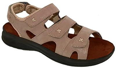 Drew Shoe Bayou Women's Therapeutic Diabetic Extra Depth Sandal Shoe: Taupe 9.5 Medium (B) Velcro