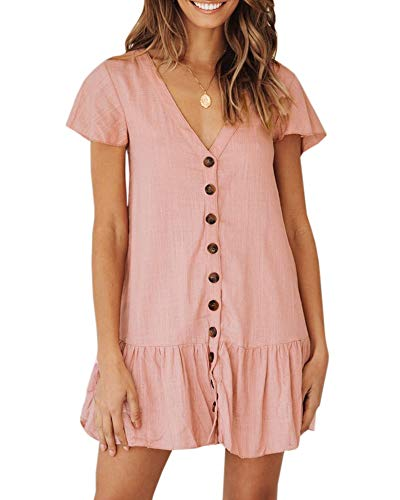 Imysty Womens Polka Dot V Neck Button Down Ruffles Loose Mini Short T-Shirt Dress (Medium, ()