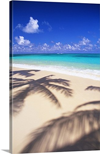 Dana Edmunds Premium Thick-Wrap Canvas Wall Art Print entitled Hawaii, Oahu, Lanikai, Tropical Beach Scene With Palm Shadow On Sand by Canvas on Demand