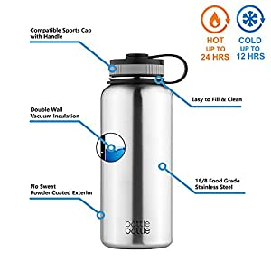 Bottlebottle 32 oz Insulated Stainless Steel Water Bottle with Bonus Lid, Double Wall Vacuum Sealed Flask, Wide Mouth, BPA Free, Cold 24 Hrs / Hot 12 Hrs - Brush Stainless Steel