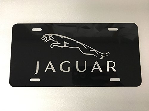 Products License Plate Logo - Diamond Etched Jaguar Logo Car Tag on Black Aluminum License Plate