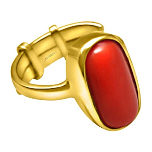 Moonga Coral 6.50 Ratti Moonga Coral Astrological Gemstone Adjustable Ashtadhatu Ring By Arihant Gems And Jewels (Yellow Cufflinks Topaz)