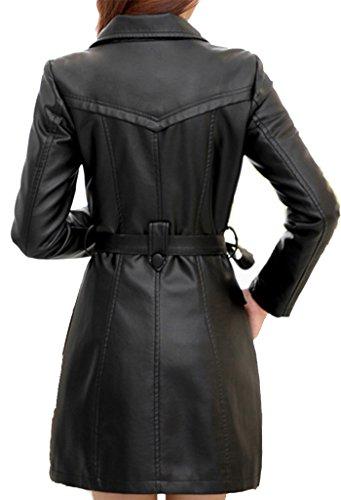 Noir faux Helan croise cuir manteau femmes AfqvXZqwxn