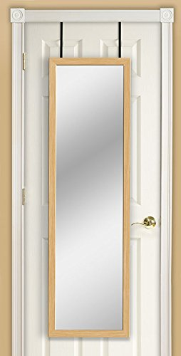 Mirrotek Over The Door / Wall Mounted Jumbo Sized Wood Framed Hanging Door Mirror, Oak Finish
