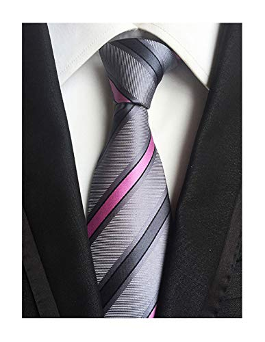 Men Striped Pink and Grey Silk Ties Woven Neckties Creative Design Gift for - Silk Tie Gray