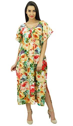Bimba Caftano Posteriore Abito Nightwear Elastico Caftano Con Maxi Stampata Donne Lungo 6rwO6