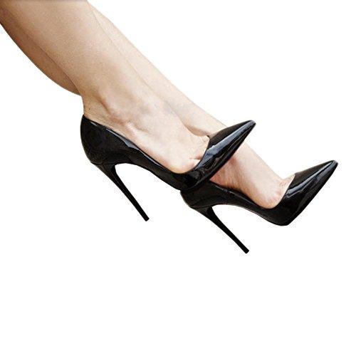 Zapatos De Mujer Loslandifen Cerrado Tacones Altos Zapatos De Mujer Delgado Señaló Bombas De Cuero Negro