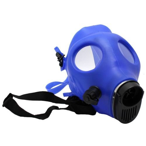BLUE RUBBER GAS MASK WITH ACRYLIC TUBE - BLACK