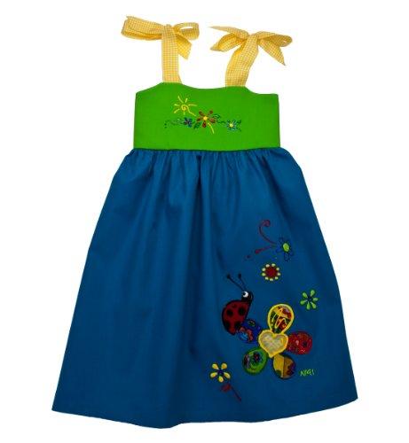 NiGi One-of-a-Kind Rainbow Dress - Sky Blue & Green w/ Ladybug - 3T