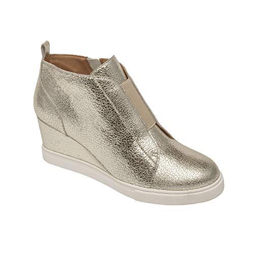 - Linea Paolo Felicia II | Platform Wedge Bootie Sneaker Platino Crack Leather 9M