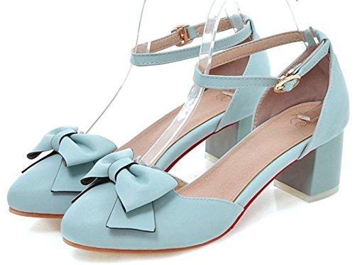 Idifu Womens Sweet Bow Puntige Enkelband Gesp Dikke Kitten Hak Pumps Schoenen Blauw